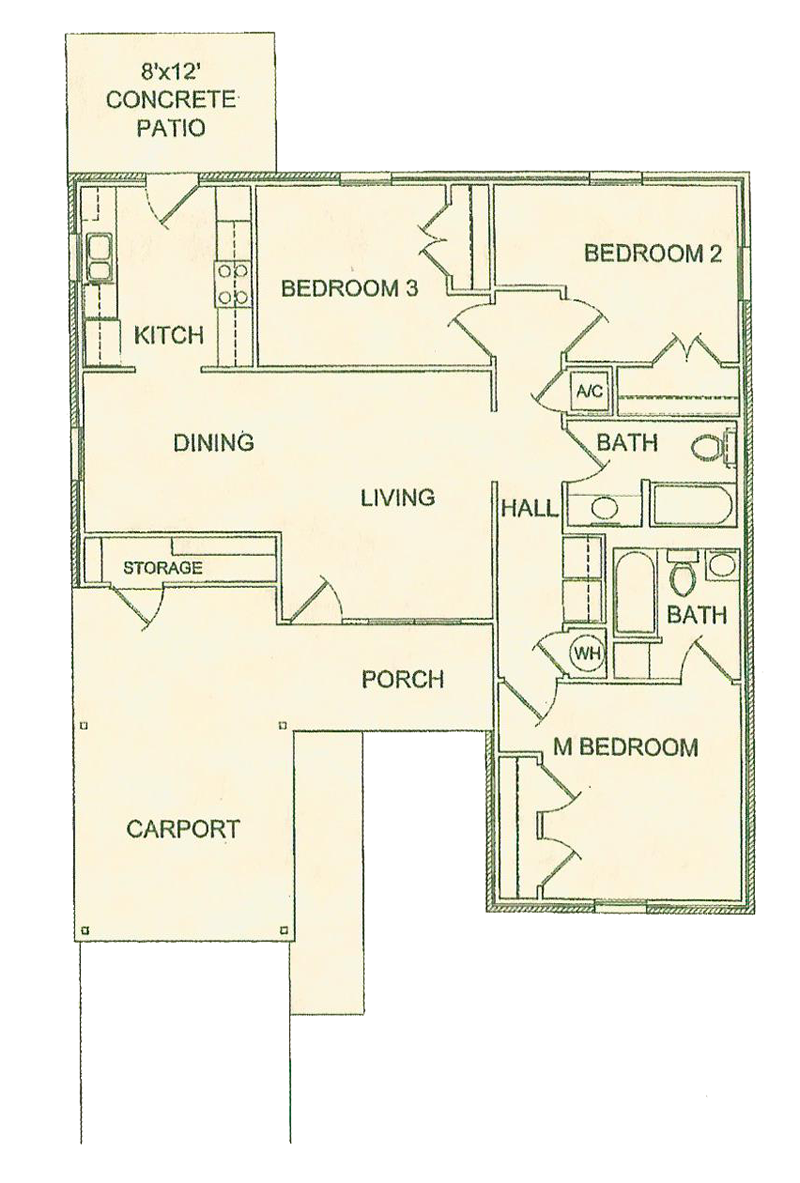 Three Bedroom / Two Bath - 1,270 Sq. Ft.*